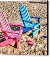 Pink And Blue Beach Chairs With Matching Flip Flops Canvas Print by Michael Thomas