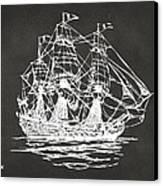 Pirate Ship Artwork - Gray Canvas Print by Nikki Marie Smith