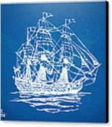 Pirate Ship Blueprint Artwork Canvas Print by Nikki Marie Smith