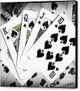 Playing Cards Royal Flush With Digital Border And Effects Canvas Print by Natalie Kinnear