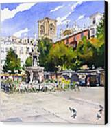 Plaza Bib Rambla Canvas Print by Margaret Merry