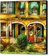 Porch - Cranford Nj - A Yellow Classic  Canvas Print by Mike Savad