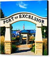 Port Of Excelsior Canvas Print by Perry Webster