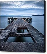 Portencross Pier  And Views To Arran Canvas Print by John Farnan