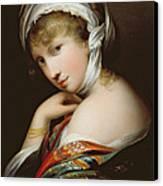 Portrait Of A Lady In Eastern Dress Canvas Print by English School