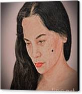 Portrait Of A Long Haired Filipina Beautfy With A Mole On Her Cheek Fade To Black Version Canvas Print by Jim Fitzpatrick