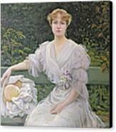Portrait Of Marguerite Durand Canvas Print by Jules Cayron
