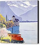 Poster Advertising Rail Travel Around Lake Geneva Canvas Print by Emil Cardinaux