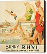 Poster Advertising Sunny Rhyl  Canvas Print by Septimus Edwin Scott