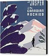Poster Advertising The Canadian Ski Resort Jasper Canvas Print by Canadian School