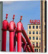 Potsdamer Platz Pink Pipes In Berlin Canvas Print by Ben and Raisa Gertsberg