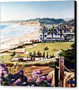 Powerhouse Beach Del Mar Lilac Canvas Print by Mary Helmreich
