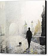Prague Charles Bridge Morning Walk 01 Canvas Print by Yuriy Shevchuk