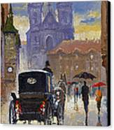 Prague Old Town Square Old Cab Canvas Print by Yuriy  Shevchuk