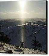 Praise In The Snowies Canvas Print by Aaron S Bedell