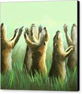 Praising Prairie Dogs Canvas Print by Anthony Falbo