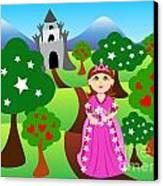 Princess And Castle Landscape Canvas Print by Sylvie Bouchard