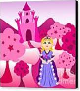 Princess And Pink Castle Landscape Canvas Print by Sylvie Bouchard