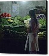 Produce Shop And The Owner Canvas Print by Scott Lenhart