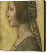 Profile Of A Young Fiancee Canvas Print by Leonardo Da Vinci