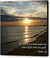 Psalm 119-105 Your Word Is A Lamp Canvas Print by Susan Savad