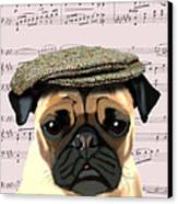 Pug In A Flat Cap Canvas Print by Kelly McLaughlan