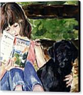 Pup And Paperback Canvas Print by Molly Poole
