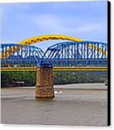 Purple People Bridge And Big Mac Bridge - Ohio River Cincinnati Canvas Print by Christine Till