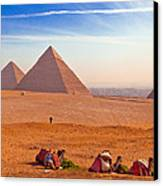 Pyramids And Camels Canvas Print by Matthew Bamberg