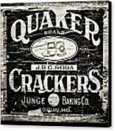 Quaker Crackers Rustic Sign For Kitchen In Black And White Canvas Print by Lisa Russo