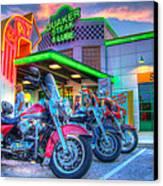 Quaker Steak And Lube Bike Night Canvas Print by Zane Kuhle