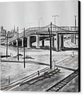 Quiet West Oakland Train Tracks With Overpass And San Francisco  Canvas Print by Asha Carolyn Young