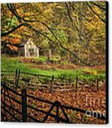 Quintessential Rustic Shack- A New England Autumn Scenic Canvas Print by Thomas Schoeller