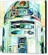 R2-d2 Watercolor Portrait Canvas Print by Fabrizio Cassetta