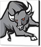 Raging Bull Attacking Charging Retro Canvas Print by Aloysius Patrimonio