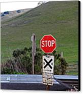 Rail Road Crossing Sign At Fernandez Ranch California - 5d21125 Canvas Print by Wingsdomain Art and Photography