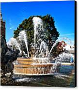 Rainbow In The Jc Nichols Memorial Fountain Canvas Print by Andee Design