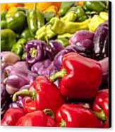 Rainbow Of Peppers Canvas Print by Teri Virbickis