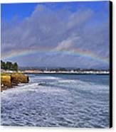 Rainbow Over Santa Cruz Canvas Print by Randy Straka