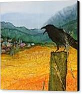 Raven And The Village 2 Canvas Print by Carolyn Doe