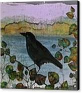 Raven In Colored Leaves Canvas Print by Carolyn Doe