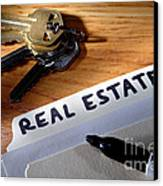 Real Estate File Folder With Marker And House Keys Canvas Print by Olivier Le Queinec