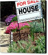 Real Estate For Sale Sign And Garden Canvas Print by Olivier Le Queinec
