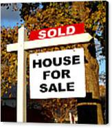 Real Estate Sold And House For Sale Sign On Post Canvas Print by Olivier Le Queinec