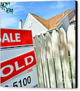 Real Estate Sold Sign Canvas Print by Olivier Le Queinec