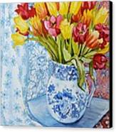 Red And Yellow Tulips In A Copeland Jug Canvas Print by Joan Thewsey