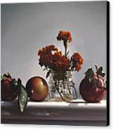 Red Apples And Marigolds Canvas Print by Larry Preston