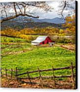 Red Barn Canvas Print by Debra and Dave Vanderlaan