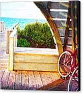Red Bike On Beach Boardwalk Canvas Print by Jane Schnetlage