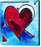 Red Blue Heart Love Painting Pop Art Joy By Megan Duncanson Canvas Print by Megan Duncanson